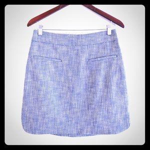 Blue and white tweed mini skirt